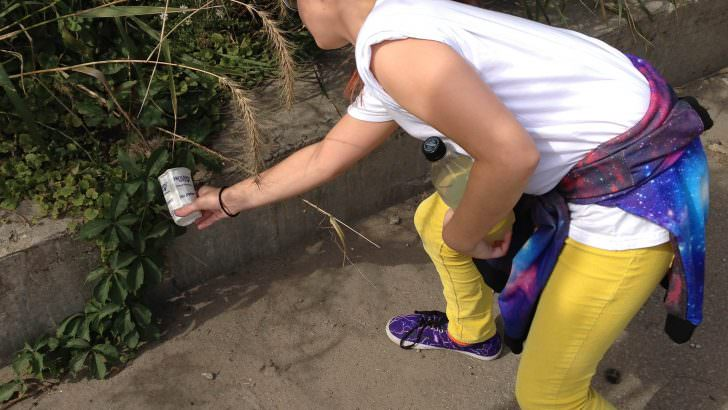 Collecting sample for water project
